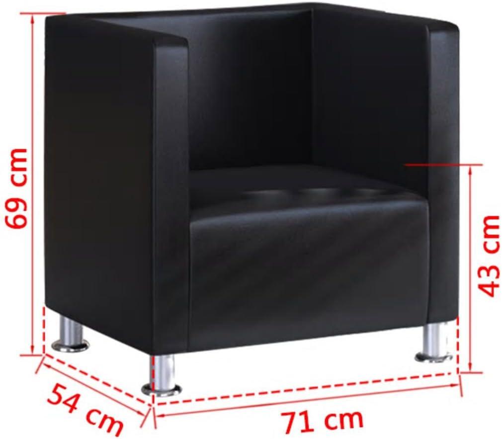 Tidyard Fauteuil Design de Cube Fauteuil de Salon Cuir