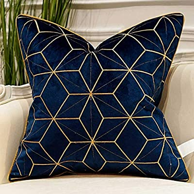 "Avigers 18 x 18 Inches Navy Blue Gold Plaid Cushion Case Luxury European Throw Pillow Cover Decorative Pillow for Couch Living Room Bedroom Car - Package Includes: 1 Pc Pillow Case. And pls notice: CUSHION COVER ONLY ( INSERT NOT INCLUDED), 18"" x 18""(45cm x 45cm) (Pls allow 1-2cm measurement deviation) The pattern is only on the front side, Invisible zipper design, Brand design embroidered pattern of Avigers The unique pattern of pillow case is designed by Avigers Brand Designer, Wonderful feeling when you touch. Comfortable, durable and environmentally, breathable, soft feeling, full, elastic, fluffy and elegant. - living-room-soft-furnishings, living-room, decorative-pillows - 512ykojcOYL. SS400  -"