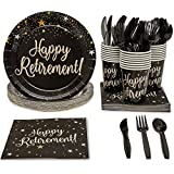 Blue Panda Happy Retirement Party Supplies Pack - Serves 24 - Includes Knives, Spoons, Forks, Plates, Napkins, and Cups