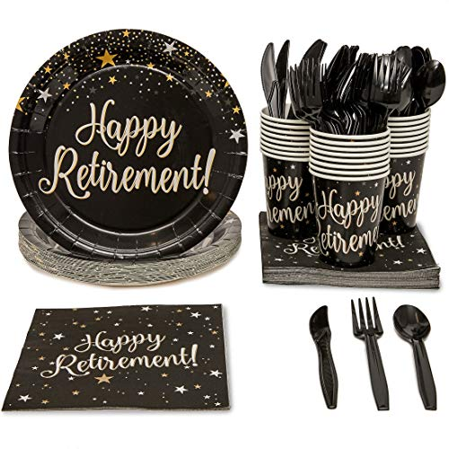 Blue Panda Happy Retirement Party Supplies Pack - Serves 24 - Includes Knives, Spoons, Forks, Plates, Napkins, and Cups -