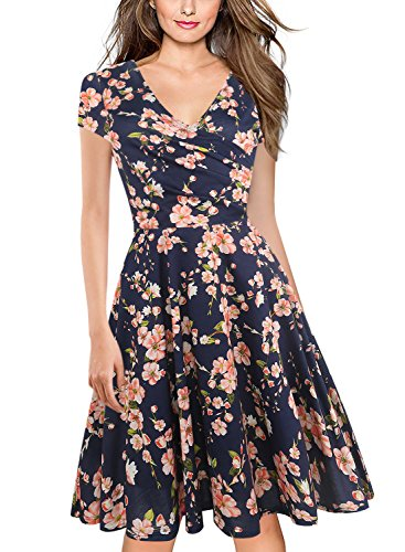 94917209bc6d0 oxiuly Women's V-Neck Cap Sleeve Floral Casual Work Stretch Swing Dress  OX233