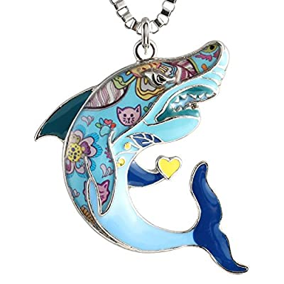 Luckeyui Unique Shark Necklaces & Pendants for Women Men Sea Life Animal Gift Charm Jewelry
