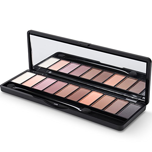 Eyeshadow Palette, 7 Matte & 3 Shimmer Shades, Highly-Pigmented Warm and Neutral Colors, Professional Makeup Palette with Double-Ended Blending Brush by LILYOBEAUTY