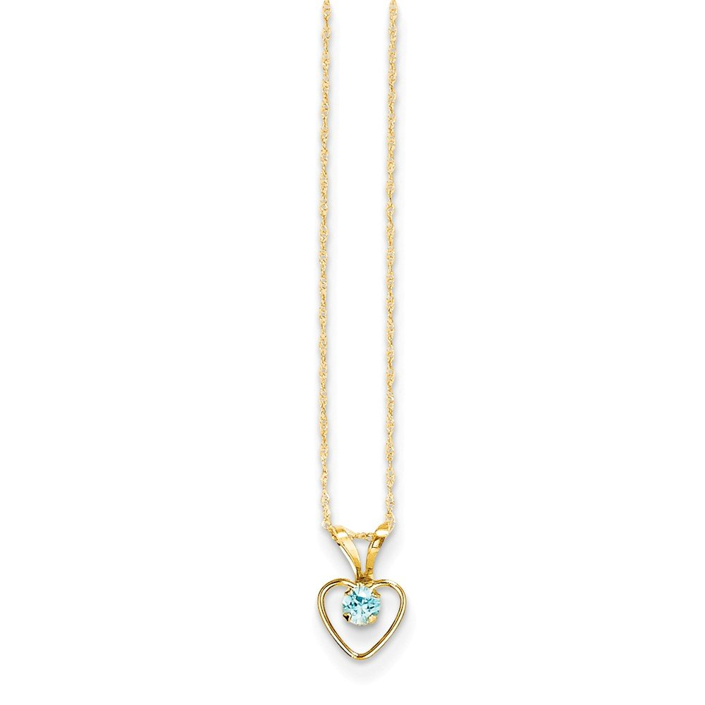 Measures 10x6mm 14k Yellow Gold Polished Spring Ring 3mm Blue Zircon Heart for boys or girls pendant 15 Inch