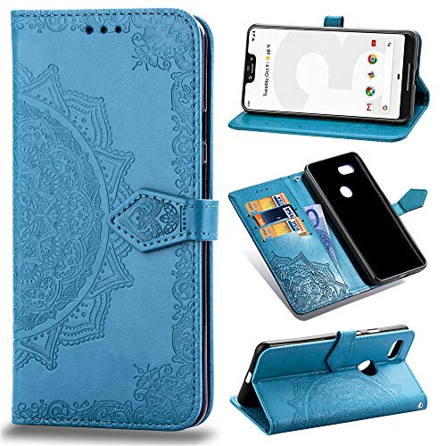 Price comparison product image Aslim Google Pixel 3 XL Case, Google Pixel 3 XL Flip Case, Google Pixel 3 XL PU Leather Wallet Embossed Mandala Floral Flowers Case with Kickstand Flip Cover Card Holder for Google Pixel 3 XL Blue