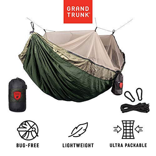 Grand Trunk Skeeter Beeter Pro Mosquito Hammock - Portable and Packable Camping Hammock with Mosquito Net and Suspension Kit - Olive Green/Khaki (Parasheet Trunk Grand)