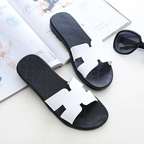 fresco plastica estate 38 e piatta anti slittamento female di pantofole per in ciabatte piano bianco Stare fankou trascinare il casa cool TqHt55