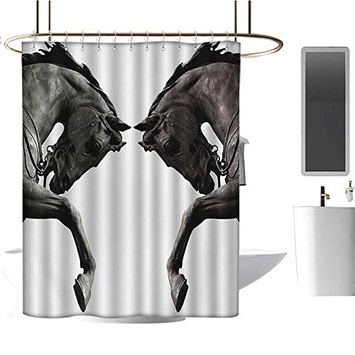 Sculptures Custom Made Shower Curtain Twin Contrast Horse Heads Statue Image Vintage Style Abstract Art Antique Theme Bathroom Set with Hooks Bronze