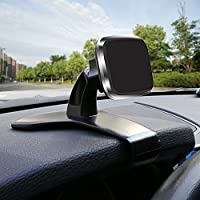 Car Phone Mount,  [New Design] [Super Strong Magnet][360 Degree Rotation] Bukm Universal Magnetic Dashboard Phone Holder Mount for Cell Phones and Mini Tablets
