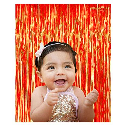 ShiDianYi 3FTX8FT-Orange Foil Fringe Curtain,Tinsel Hanging Backdrops/Photo Backdrop/Disco Door/Window Curtains]()