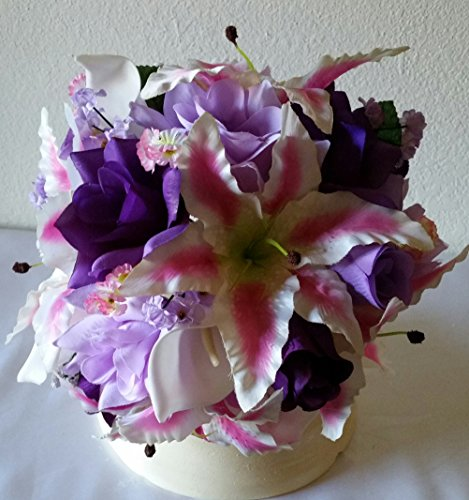 Lavender Purple Fuchsia Rose Tiger Lily Bridal Wedding Bouquet & Boutonniere