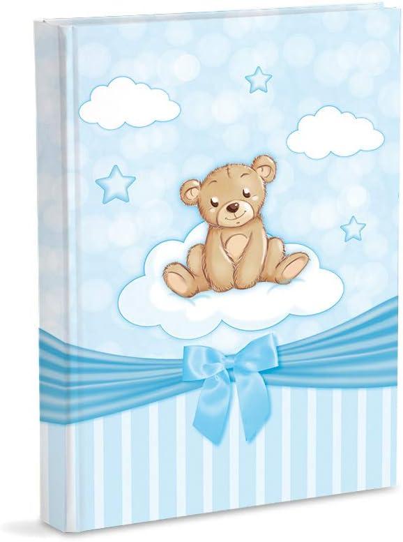 Mareli Álbum de fotos azul celeste, con diario, 23 x 30 cm, 56 páginas blancas y 4 páginas diarias personalizables, páginas de cartón grueso y resistente intercaladas de pergamino