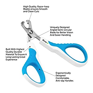 Cat Nail Clippers Trimmer By Boshel - Safe, Sharp Angled Blade - Non-Slip Handle - Cat Dog Nail Clippers Scissors - For Small Dogs, Cats, Birds, Rabbits - Professional, Easy At Home Grooming