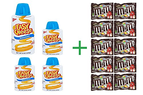 Kraft Easy Cheese American Cheese, 8 OZ (4 Pack) + 10 Pack M&M Chocolate 1.69oz