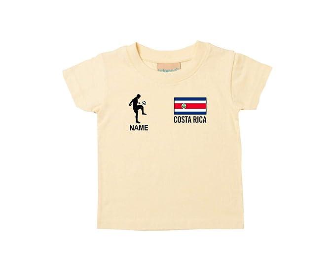 Shirtstown Kids Camiseta Camiseta de Fútbol Costa Rica con Su Nombre Deseado Estampado - Amarillo Claro