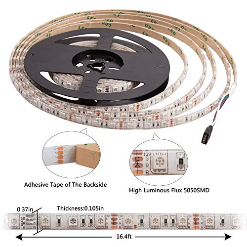 Boomile 16.4ft LED Flexible Light Strip, RGB 300 LEDs SMD 5050, LED Strip Lights, Waterproof Light Strips Kit, LED ribbon, Holiday Home Kitchen Car Bar Indoor Ceiling Party Decoration by Boomile (Image #2)