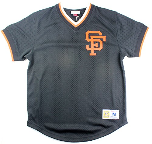 San Francisco Giants MLB Men's Mesh V-Neck Jersey Black (Large)