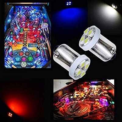 PA 10PCS #1893 #44 #47 #756 #1847 BA9S 4SMD LED Wedge Pinball Machine Light Bulb White-6.3V: Toys & Games