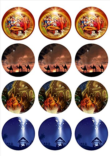 Christmas Edible Cupcake Toppers 12 cupcake topper 25quot