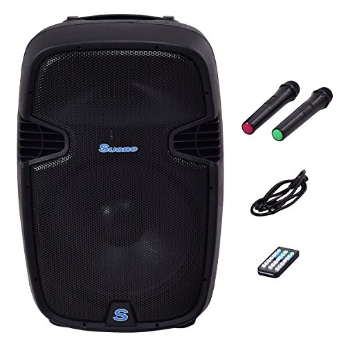 Suono 15'' 1000W Powered Speakers, 2-Way Full Range Portable DJ/PA Speaker System Set With Microphones/ USB/Bluetooth by Suono