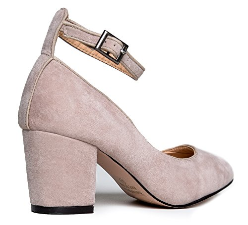 Ankle Block Suede J Heel Round Shoe Strap Adams Pump Dress Comfortable Darling Toe Nude B5Oz5qfrwx
