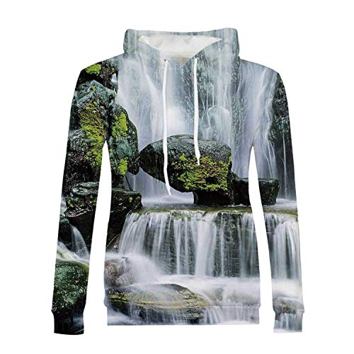 Waterfall Decor Stylish Hoodies,Majestic Waterfall Blocked with Massive Rocks with Moss on Them for Girls,S