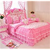4-Piece Bedding Set 100% Cotton Embroidered Pastoral Floral Ruffle Lace Princess Duvet Cover Set Full