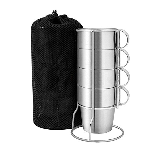 Kereda Stainless Steel Camping Cup, 10 oz. Double Walled Mugs Set with Handle, Holder and Black Mesh Carry Bag for Backpacking, Picnic & Outdoors by Kereda