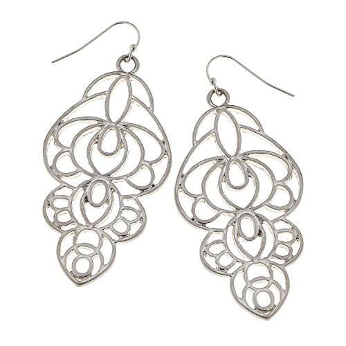 Abstract Filigree Boutique Style Dangle Earrings (Matte Silver Tone)