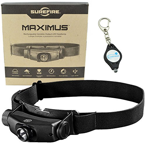 SureFire Maximus Rechargeable Variable-Output LED Headlamp 500 Lumens HS3-A-BK w/ Alliance Gadget Keychain Light