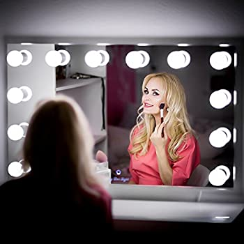ReignCharm Hollywood Vanity Mirror, 12-LED Light Bulbs, USB Ports & Outlets, 22-inches by 29-inches, Borderless