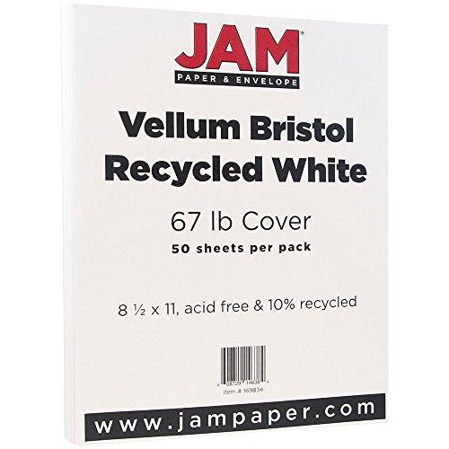 JAM Paper 8 1/2 x 11 Vellum Cover - 67 lb White Cardstock - 50 Sheets per Pack