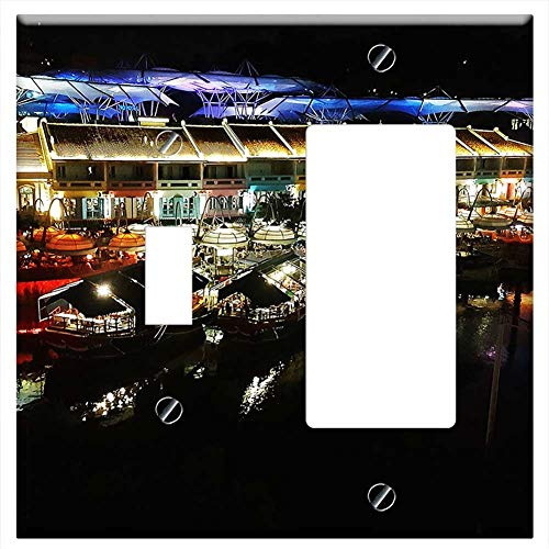 1-Toggle 1-Rocker/GFCI Combination Wall Plate Cover - Riverside Clarke Quay Singapore Night Life Ri