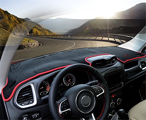 FMtoppeak Dashboard Dash Dark Mat Dash Mat Sun Cover Pad For Jeep Renegade 2014-2016 Red with Logo (Dashboard Cover Jeep compare prices)