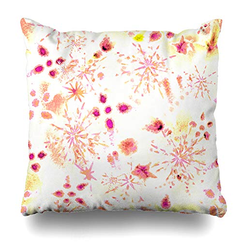 (Ahawoso Throw Pillow Cover Carnival Purple Pink Surreal Hoarfrost Snowflakes Dye Watercolor Anniversary Holidays Celebration Home Decor Zippered Pillowcase Square Size 18 x 18 Inches Cushion Case)