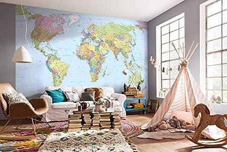 Poster Cartina Geografica Mondo.Deco Italia Fotomurale Cartina Geografica Mondo Poster Gigante