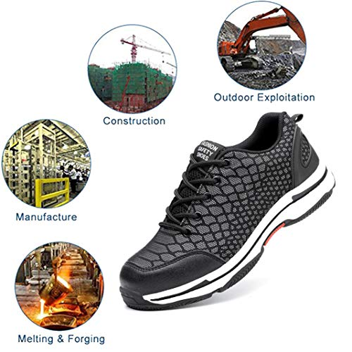 Steel Steel Shoes Toe Toe Shoes 09 for Safety black Men Work SUADEEX Shoes Boots Men 1A88q