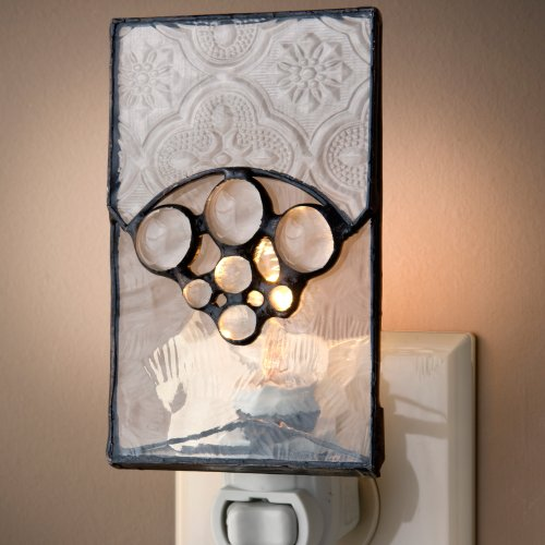 J Devlin NTL 134 Decorative Night Light Vintage Stained Glass with Clear Stones Bedroom (Stained Glass Night Light Patterns)