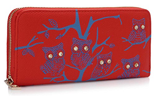 Ladies Red Women Holder Purses Design For Luxury Wallet Animal Zipped Card Coin Large Print 1 Owl qUx0ZEwH