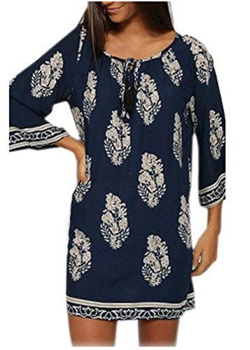 Teamyy Vestido suelto casual de playa con 3/4 mangas Vestido retro estampado de verano Azul marino