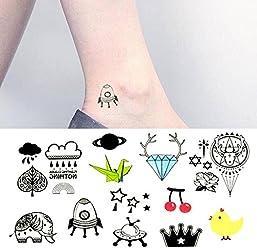 8a180b9b9 Oottati Small Cute Temporary Tattoo Diamond Elephant Chicken Rocket Alien Paper  Crane (2 Sheets)