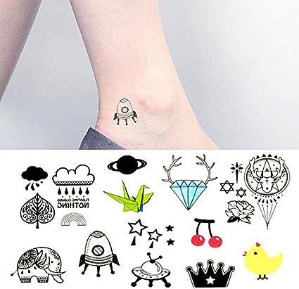 Oottati Pequeño Lindo Tatuaje Temporal Diamante Elefante Pollo ...