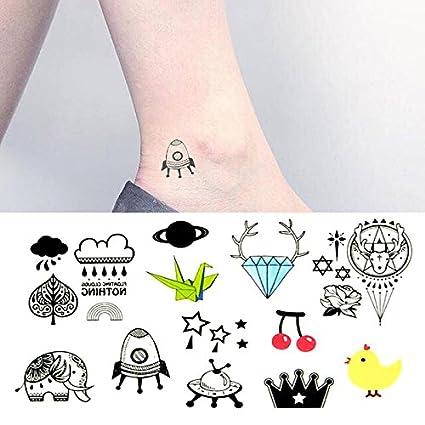 Oottati Pequeño Lindo Tatuaje Temporal Diamante Elefante Pollo Rocket Alien Paper Crane (2 Hojas)