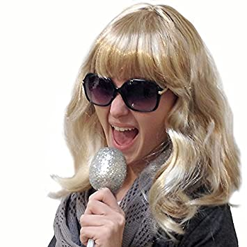 schulterlang Karnevalsper/ücke PARTY DISCOUNT /® Per/ücke Blond gestr/ähnt // mit Str/ähnen mit Pony Party-Per/ücke