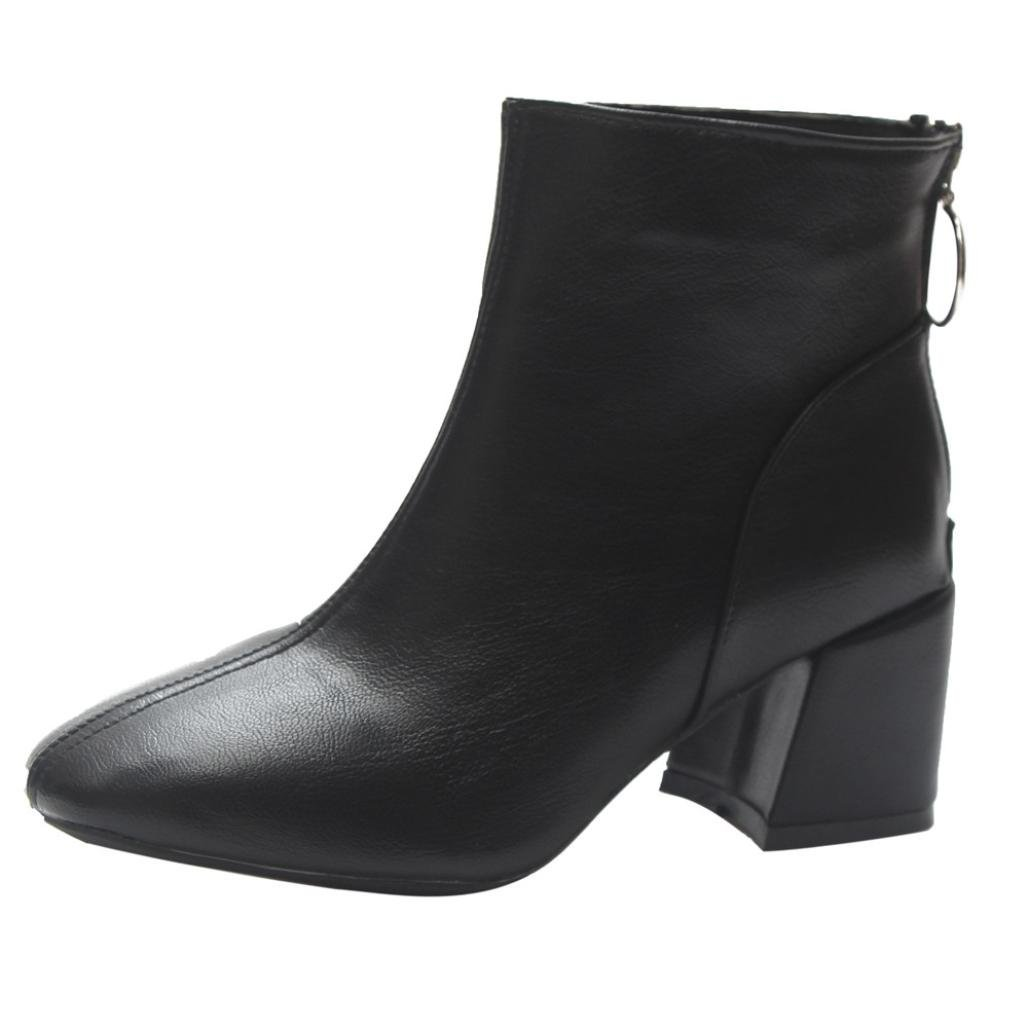 SUKEQ Women Ankle Boots, Fashion Sexy PU Leather Low Chunky Heel Zipper Booties Ladies Dress Shoes (7.5 B(M) US, Black)