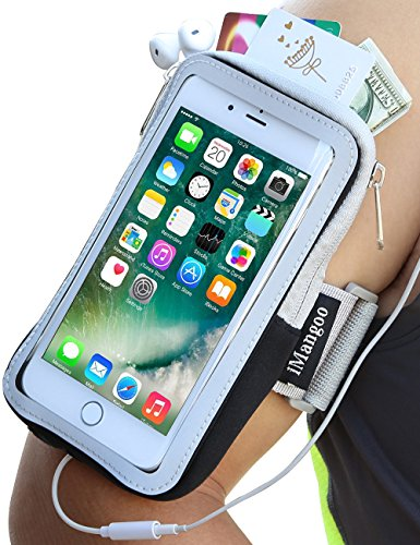 iPhone 7 Plus Armband, iMangoo Cell Phone Pouch Google Pixel Running Armband Water Resistant Gym Wrist Bag Sleeve Case Extensible Belt Sports Arm Band for iPhone 7 Plus 8 Plus (Water Resistant Sport Case)