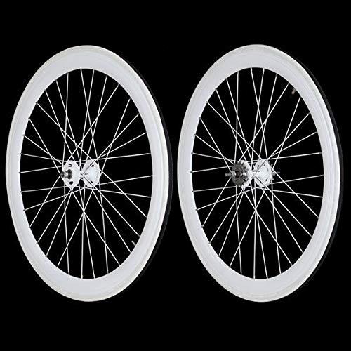 Stars-Circle Fixie Freewheel Track Wheel Wheelset Deep V White+Tires