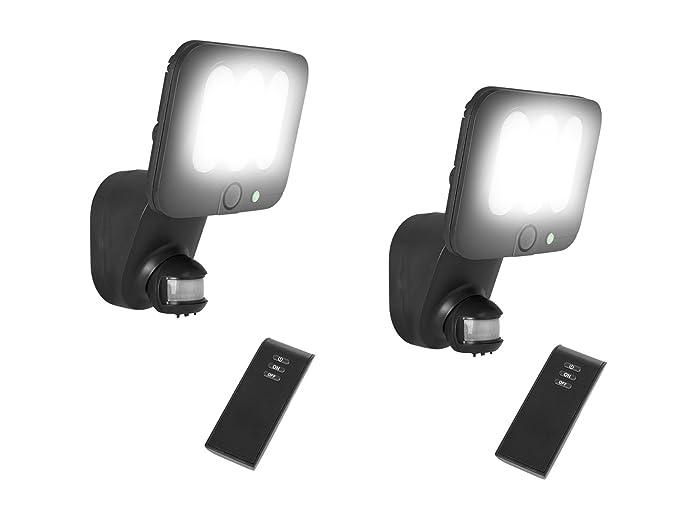 Juego de 2 LED Lámpara de Seguridad/Foco exterior con detector de movimiento y alarma