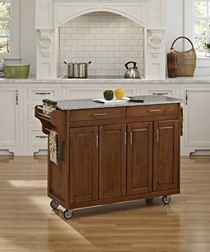 - Create-a-Cart Cottage Oak 4 Door Cabinet Kitchen Cart with Gray Granite Top by Home Styles