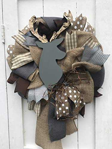 Woodland Nursery Decor Gray Deer Wreath Rustic Nursery Woodland Burlap Wreath Antler Deer Baby Shower Burlap Baby Decor Wreath Baby Decor Grey Brown - Wreath Gray
